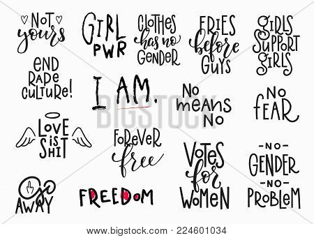 Girl Power Shirt Quote Feminist Lettering. Calligraphy Inspiration Graphic Design Typography Element