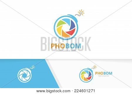 Vector camera shutter and bomb logo combination. Lens and detonate symbol or icon. Unique photo and weapon logotype design template.