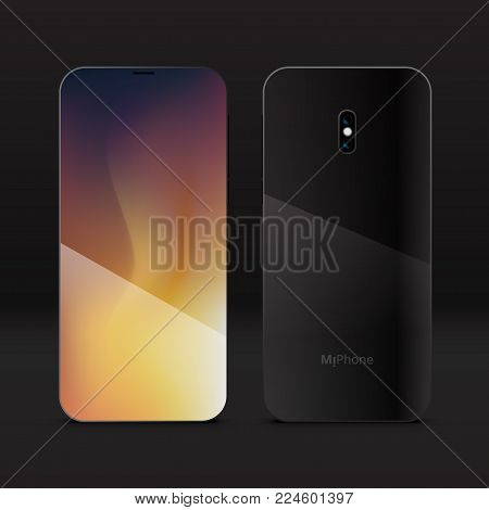 3d Realistic Smartphone Mobile Phone. With Miphone Abstract Logo On Back Cover. Eps10 Vector
