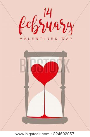 Lovely hourglass. Romantic vector drawings for love time. Valentines days. Lovely cute designs for your card, poster and gift designs. Time for love.