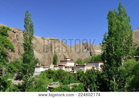 View on the beautifully Buddhist Choskhor monastery in the Alchi village in the Ladakh. This region is a purpose of motorcycle expeditions organised by Indians