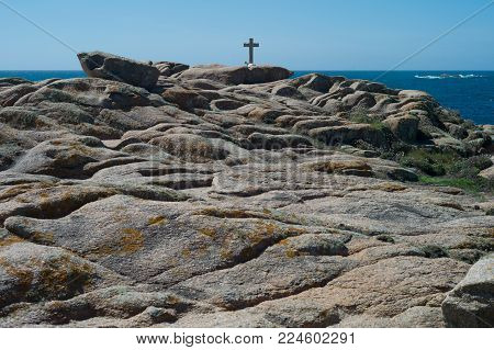 Death Coast with cross of   dead shipwrecked in Galicia