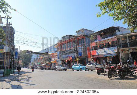 Pokhara Nepal - November 7, 2017: Unidentified People Visit Shopping Street In Pokhara Nepal.