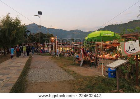 Pokhara Nepal - November 7, 2017: Unidentified People Visit Fhewa Lake Waterfront Restaurant In Pokh