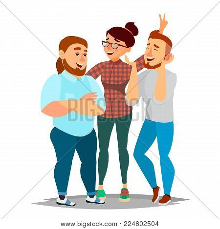 People Group Taking Photo Vector. Laughing Friends, Office Colleagues. Man And Women Take A Picture. Friendship Concept. Isolated Cartoon Illustration
