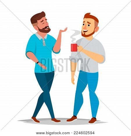 Talking Men Vector. Laughing Friends, Office Colleagues. Communicating Male. Business Person. Situation. Isolated Cartoon Illustration