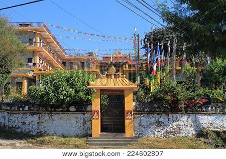 Dhe Chhen Ling Buddha Tibetan Monastery In Pokhara Nepal