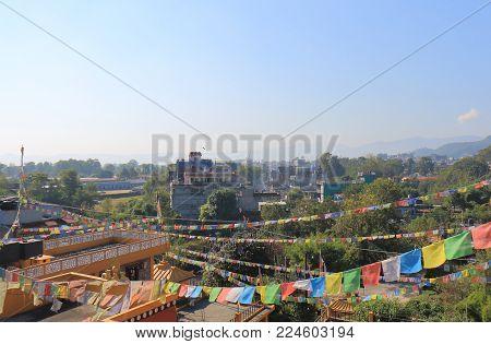 Pokhara Downtown Cityscape With Tibetan Religious Flag In Pokhara Nepal