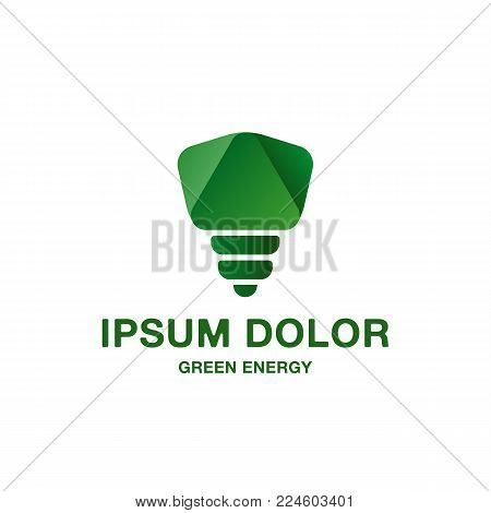 Abstract and minimalistic green light bulb icon. Pure green energy logo idea for the business card, branding and corporate identity.