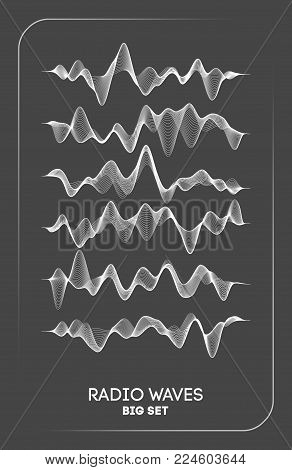 Radio waves vector. Radio frequency identification. Wireless communication. Sound waves abstract vector