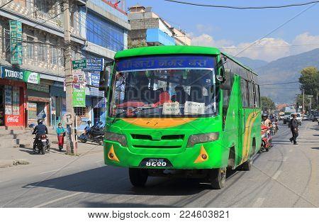 Pokhara Nepal - November 8, 2017: Unidentified People Travel By Local Bus In Pokhara Nepal.
