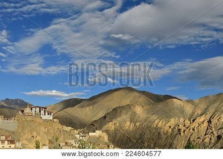 Beautiful Karakorum panorama in the vicinity of the Lamayuru town. Local are naming this rock formation with