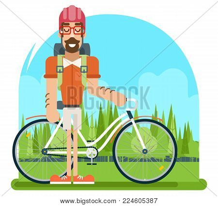 Forest Ride Bicycle Geek Hipster Travel ycling Nature Lifestyle Concept Planning Summer Vacation Tourism Journey Symbol Man Bike Flat Design Template Vector Illustration