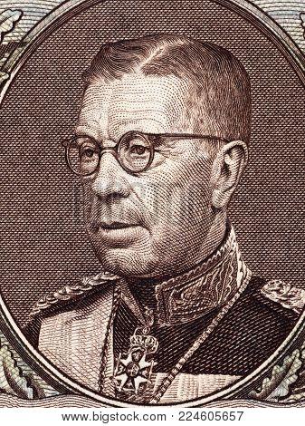 Gustaf VI Adolf of Sweden portrait from money