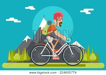 Mountain Ride Bicycle Geek Hipster ycling Travel Nature Lifestyle Concept Planning Summer Vacation Forest Tourism Journey Symbol Man Bike Flat Design Template Vector Illustration