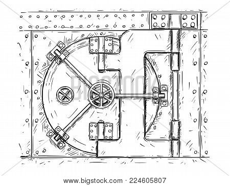 Cartoon vector doodle drawing illustration of closed vault door. Business concept of security, secret and treasure.