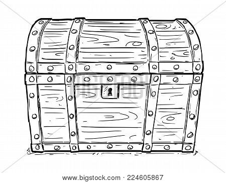 Cartoon vector doodle drawing illustration of old wooden closed and locked pirate treasure chest or trunk. Business concept of security, secret and treasure.