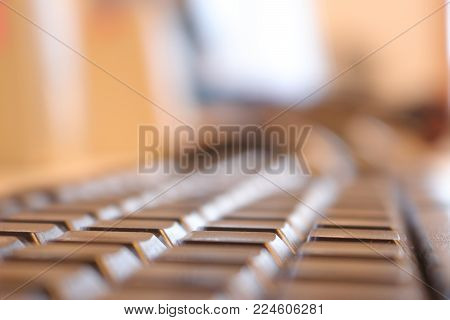 Office keyboard working business atmosphere on workstation