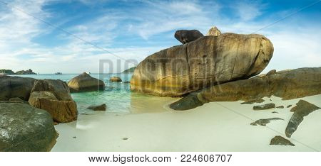 Panorama landscape with beach and rocks on Similan islands at sunset, Thailand