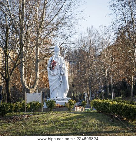 The statue of the Saint Valentine. It is located in Italy in the city of Terni. He is the protector of lovers