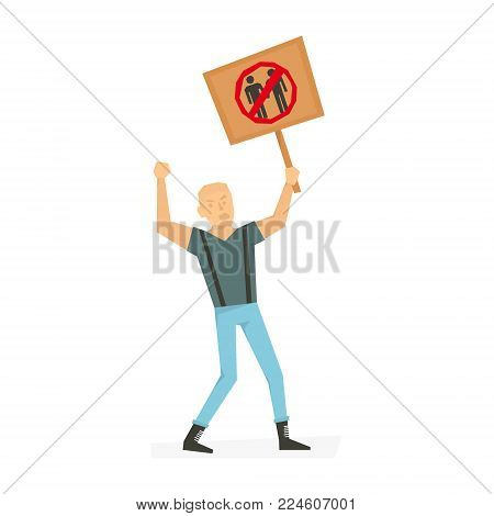 Angry man with banner, screaming, protesting. People demonstration or protest with placard.