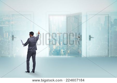 Businessman facing many business opportunities