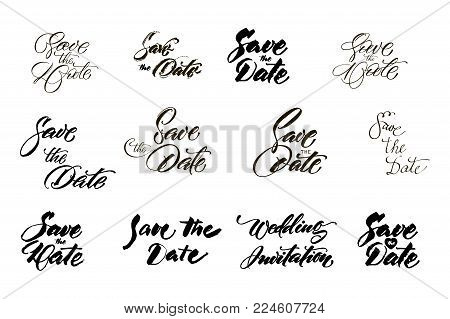 Save the date collection with hand drawn lettering, ampersands and catchwords. Vector set for design wedding invitations, photo overlays and cards.
