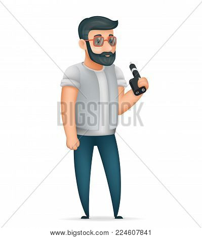 3d Vape Smoking Geek Hipster Character Casual Icon Cartoon Poster Vector illustration