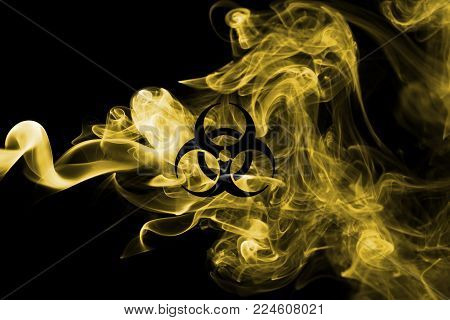 Biohazard smoke sign isolated on a black background