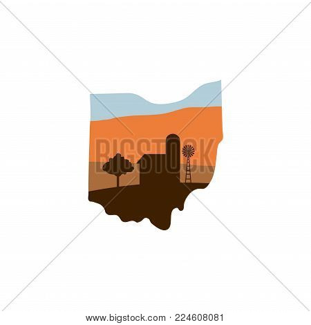 Ohio State Shape With Farm At Sunset W Windmill, Barn, And A Tree