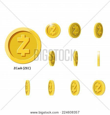 Gold Rotate zcash Frames Set for Animation on Black and White Background. Flat vector