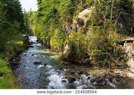 Waterfall On Talbach Creek Trail From Schladming To Untertal, Austria