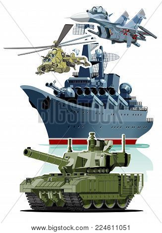 Set of cartoon military equipment for 23 February schedule for decoration flyers or greeting cards. Translation: February 23 Defender of the Fatherland Day.