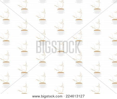 Seamless pattern with young female Ballerina dancing on cappuccino foam. Coffee cup with dancing wonan dancer on white background. Vector EPS10 illustration