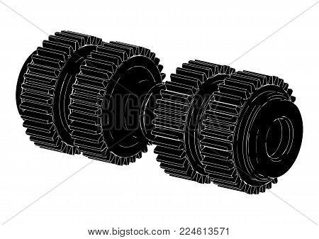 Black Cogwheel On A White Background, Vector