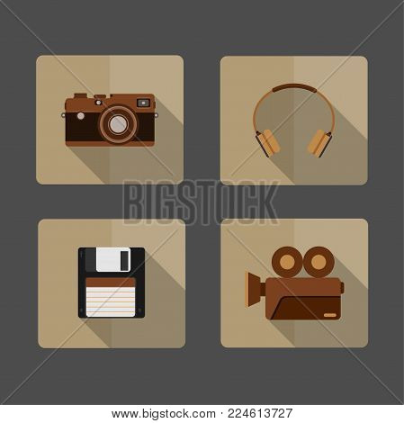 4 icons Camera, headphone, Diskette , Movie CameraLong shadow on brown background