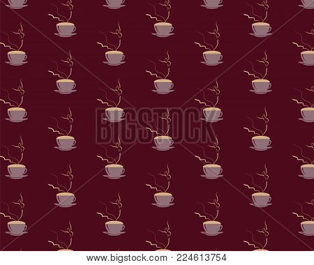 Seamless pattern with young girl Ballerina dancing on cappuccino foam. Coffee cup with dancing wonan dancer on dark brown background. Vector EPS10 illustration