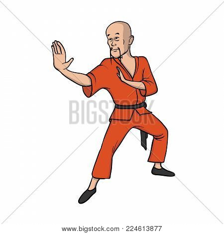 Shaolin monk practicing kung fu or wushu. Martial art. Vector illustration, isolated on white background.