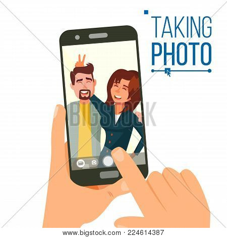 Taking Photo On Smartphone Vector. Smiling People. Modern Friends Taking Vertical Selfie. Hand Holding Smartphone. Camera Viewfinder. Friendship Concept. Isolated Flat Cartoon Illustration