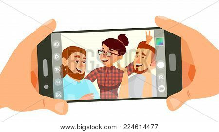 Taking Photo On Smartphone Vector. Smiling Friends Taking Selfie. People Posing. Hand Holding Smartphone. Friendship Concept. Isolated Flat Cartoon Illustration