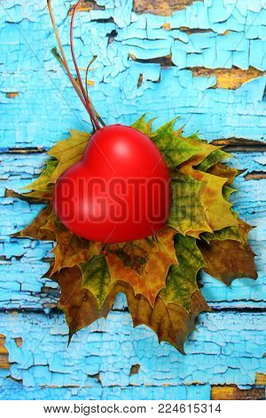Autumnal leaves on old blue background and red heart/Autumnal leaves on blue scraped  planks.