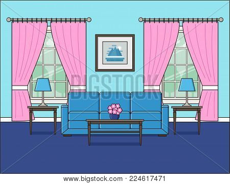 Room interior with window and sofa. Linear living room in flat design. Vector illustration. Outline background in blue. Home space with furniture in line art. Cartoon house equipment in pastel colors.
