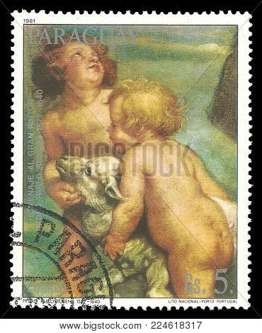 Paraguay - circa 1981: Stamp printed by Portugal, Color edition on Art, shows Painting Couple of children by Rubens, circa 1981
