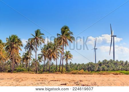 wind turbines in the jungles of Sri Lanka. Alternative Renewable Energy Sources