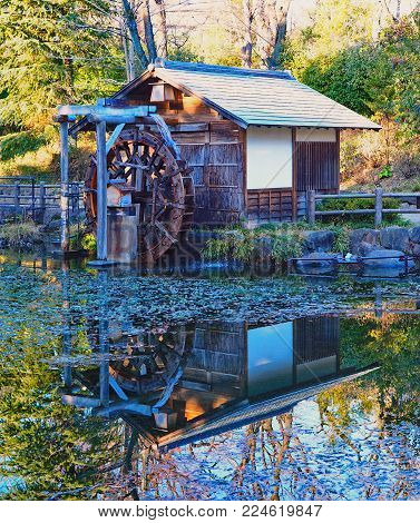 Japan water wheel with 2 blank signs. Reflections in Tokyo pond. Water wheel with water flowing reflecting in a clear space in the pond in Tokyo, Japan creating a serene peaceful scene. Great as an image by itself, or as backdrop.