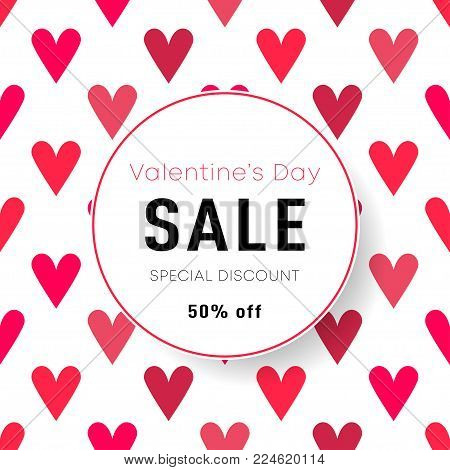 Sale Poster, Banner, Flyer Design For St. Valentine's Day. Happy Valentine's Day Celebration. Saint
