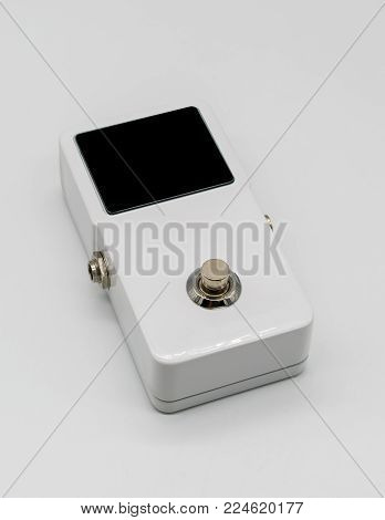 White Guitar Pedal Effect, Strompbox, With Big Led Screen Display Isolated On White