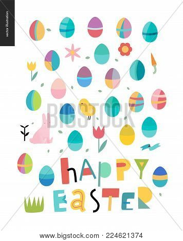 Happy easter lettering surrounded with traditional elements - eggs, chicken - rabbit -tulip, grass, house, ribbon, cake, sun