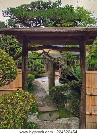 Japanese garden entrance in Toyama Japan, next to temple. Japanese style entrance cover with bamboo fence and gate, stone pathway and bonsai trees. Creates a balanced, enticing pathway.