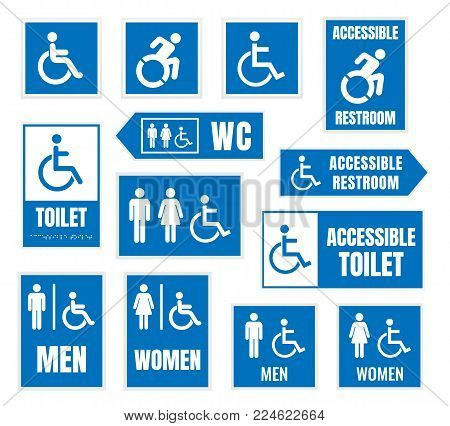accesible restroom signs, toilet sign for desabled people